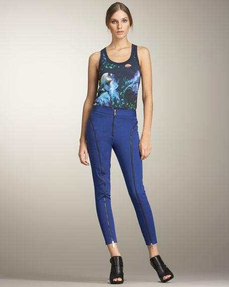 Contrast-Zip Scuba Pants