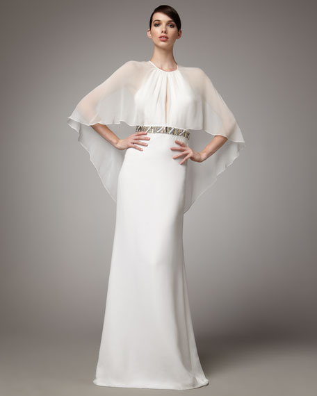 Capelet Bead-Waist Gown