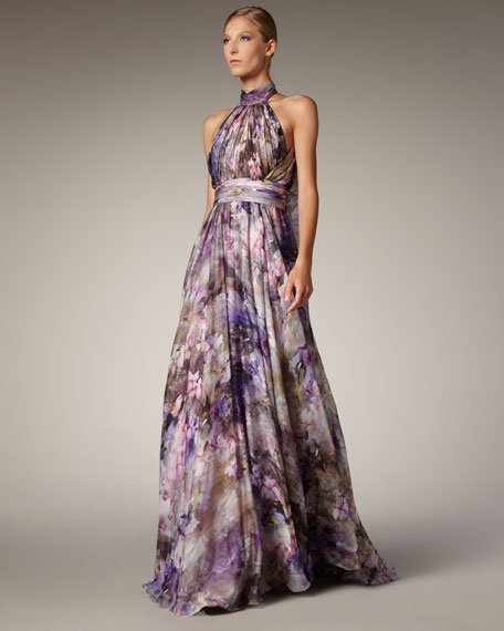 Badgley mischka halter neck printed gown for Neiman marcus dresses for wedding guest