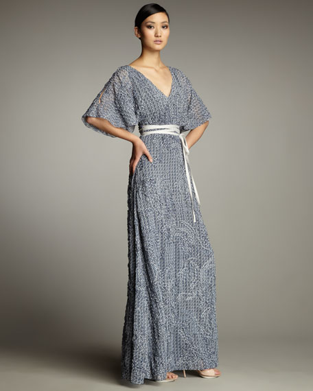 Butterfly-Print Belted Maxi Dress