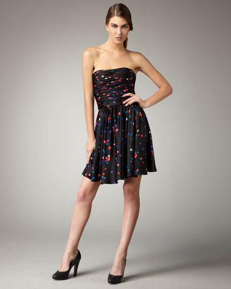 Strapless Confetti-Print Dress