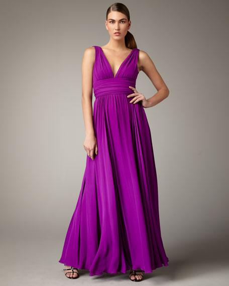 V-Neck Silk Gown