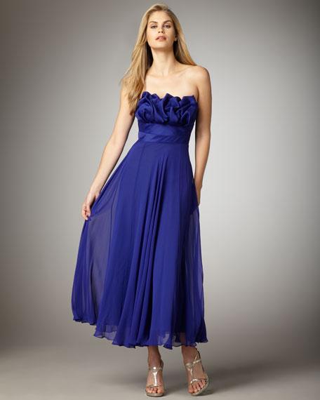 Strapless Rosette-Bodice Gown