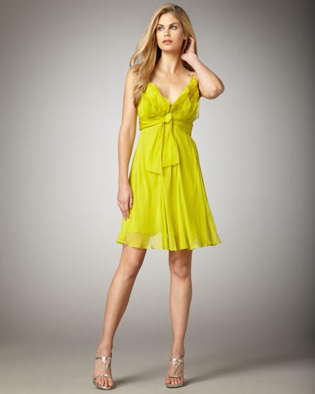 Ruffled V-Neck Chiffon Dress