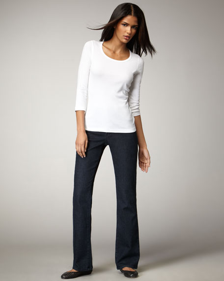 Barbara Embroidered-Pocket Boot-Cut Jeans