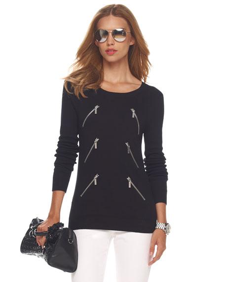 Diagonal-Zip Sweater