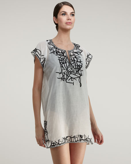Embroidered Satin Tunic, White