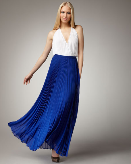 Alice + Olivia Shannon Pleated Maxi Skirt