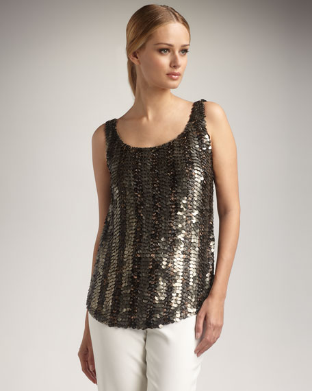 Sequined Bias Tank