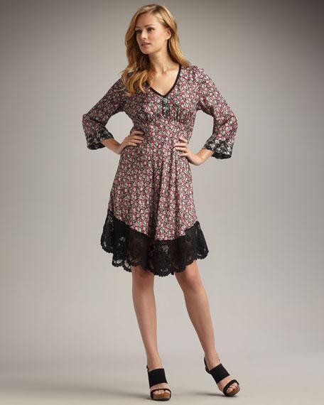 Lace-Hem Printed Dress