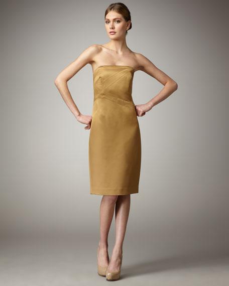 Satin Strapless Dress, Barley