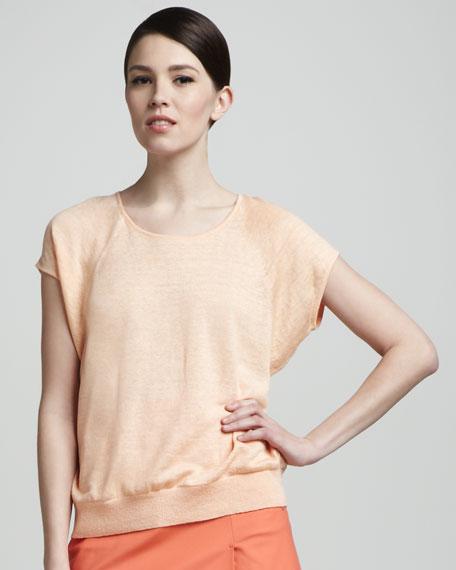 Linen Cap-Sleeve Scoop-Neck Dolman Sweater