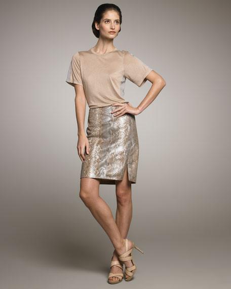 Metallic Python Pencil Skirt