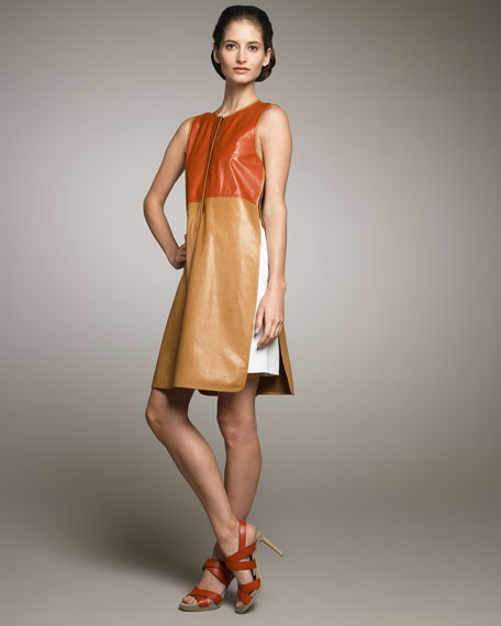 Colorblock Leather Dress