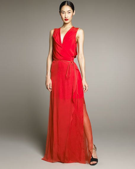 Crepe de Chine Wrap Gown