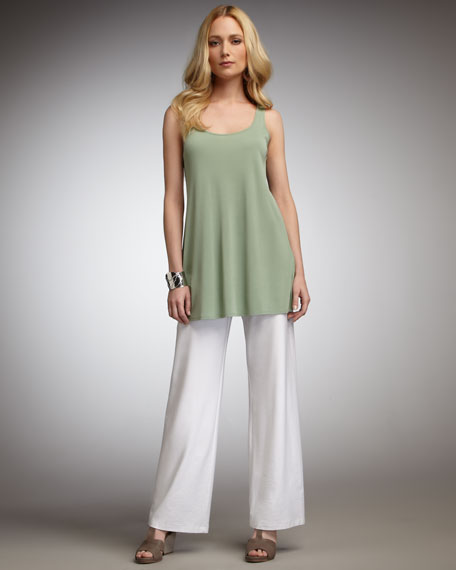 Washable-Crepe Wide-Leg Pants