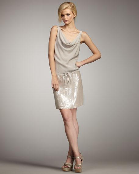 Diane von Furstenberg Tadd Sequin-Skirt Dress
