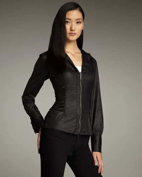 Faux-Leather Zip Top