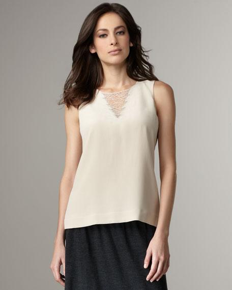 Lace-Inset Silk Shell