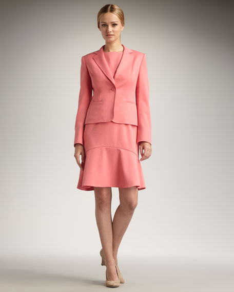 Long-Sleeve Jacket & Fluted Dress Set