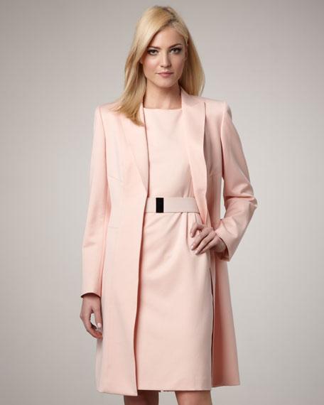 Albert Nipon Long Coat & Belted Sheath Dress