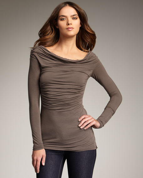 Ruched Jersey Top, Taupe