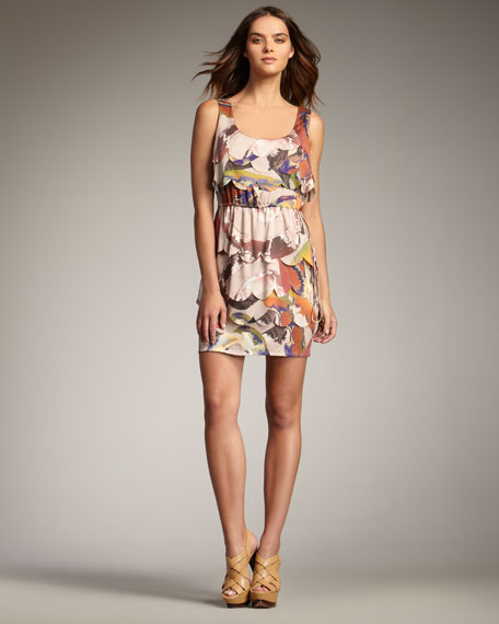Swirl-Print Scallop Dress