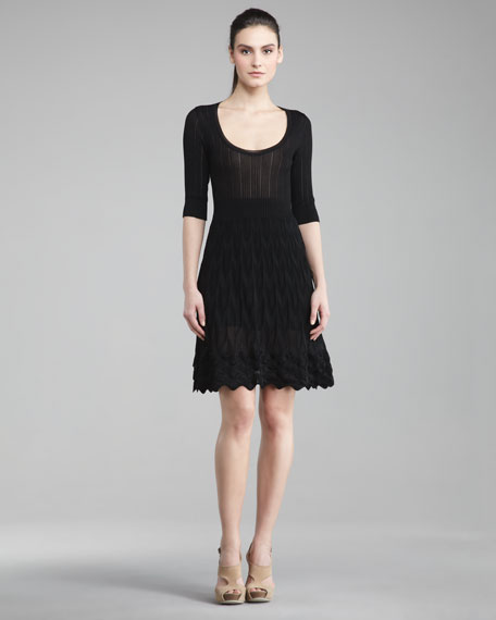 Ribbed-Top Knit Dress, Black