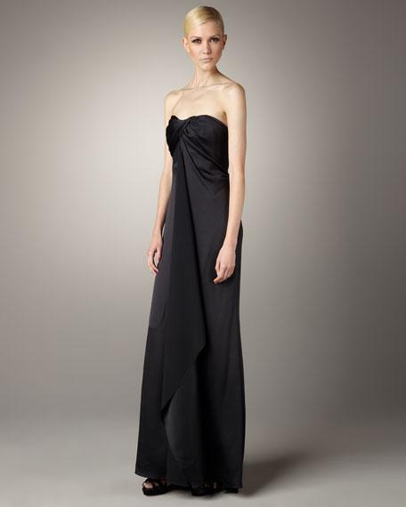 Carolina Herrera Knot-Front Satin Gown