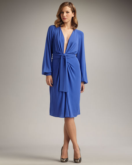 Plunge-Neck Wrap Dress