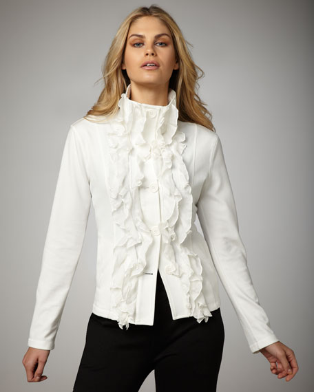 Ruffle-Front Button Jacket