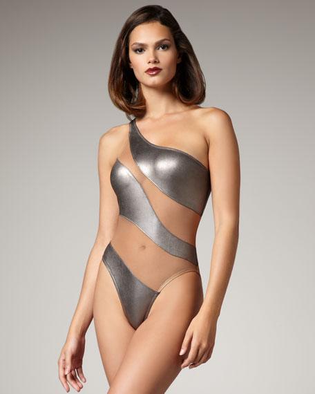 Sheer-Panel Swimsuit