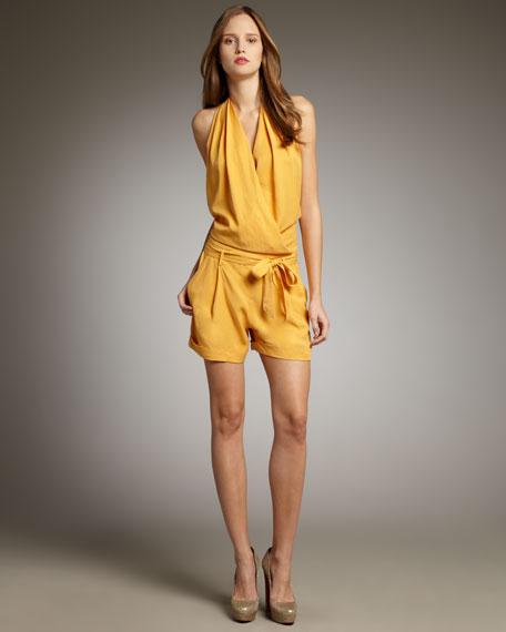 Wrap Halter-Neck Jumpsuit, Sunflower