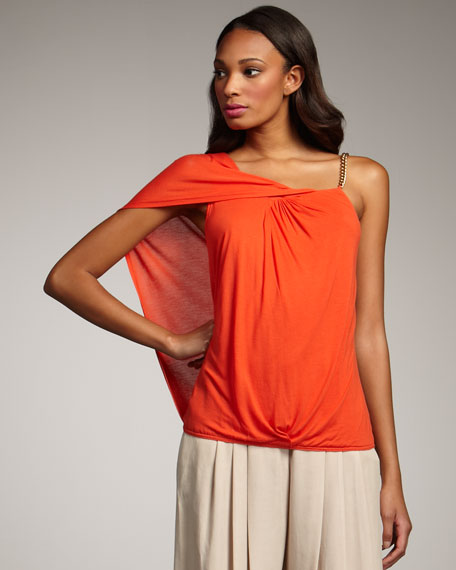 Front-Twist One-Sleeve Top