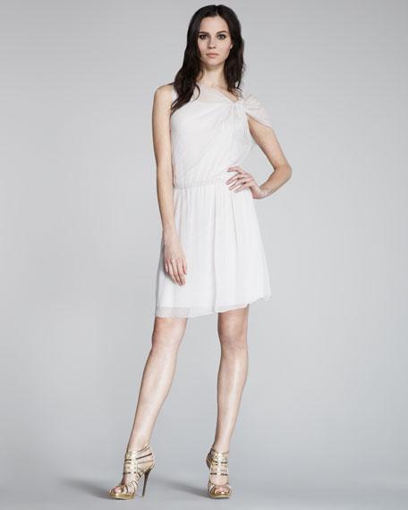 Twist-Shoulder Silk Dress
