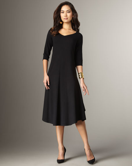 Jersey Calf-Length Dress, Women's
