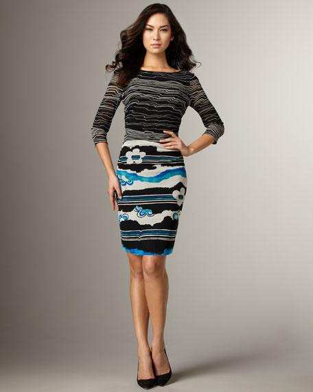 Print Mesh Dress