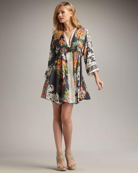 Printed Silk Dress, Women's