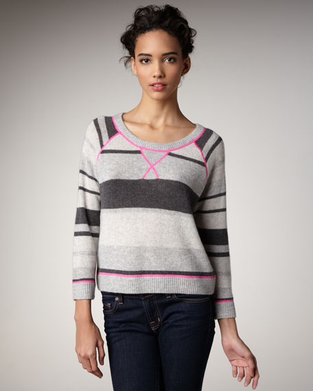 Stripey Crewneck Cashmere Sweater