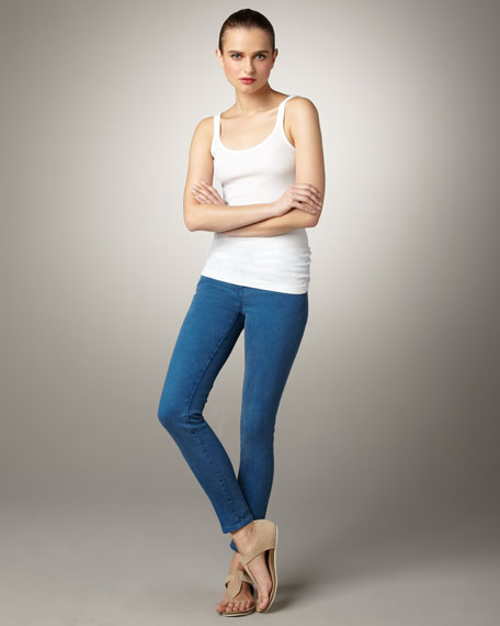 Cropped Skinny Jeans, Blue