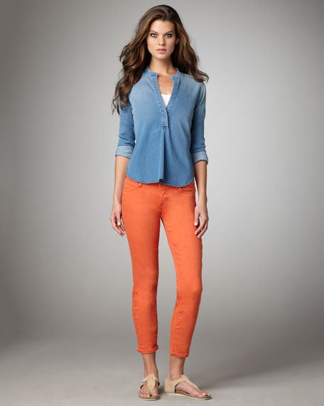 Cropped Skinny Jeans, Coral
