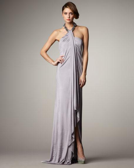 Beaded-Halter Jersey Gown