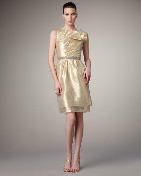 Pleat-Neck Metallic Dress