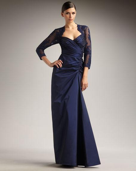 Lace-Detail Taffeta Gown