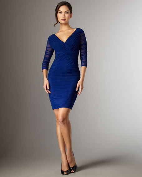 Wide V-Neck Ruched Dress