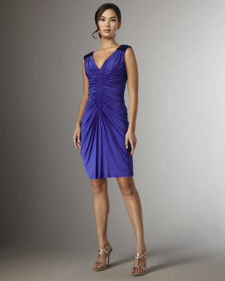 Ruched-Front Sleeveless Dress