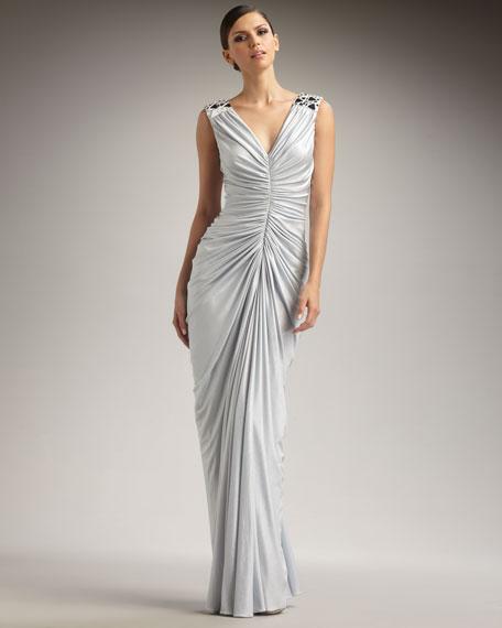 Mirror-Shoulder Jersey Gown
