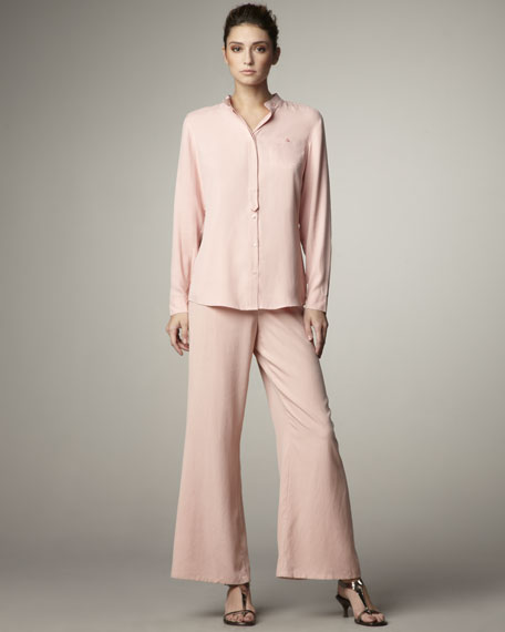 Wide-Leg Silk Pants, Petite