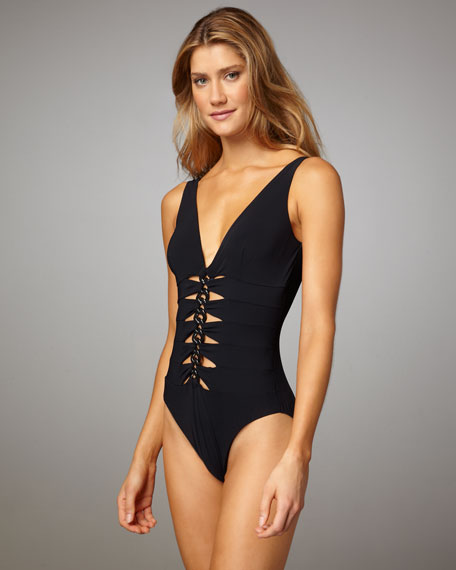Chain-Cutout One-Piece Swimsuit