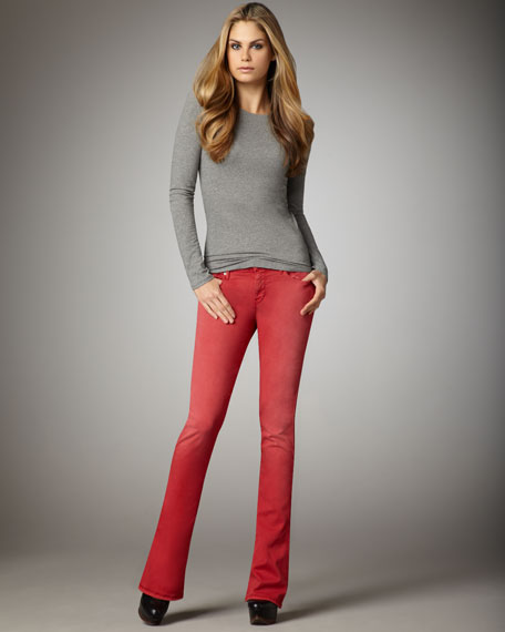 Kaylie Sunbleached Red Slim Boot-Cut Jeans